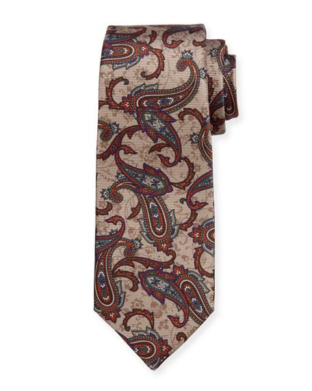 Paisley-Print Silk Tie, Tan