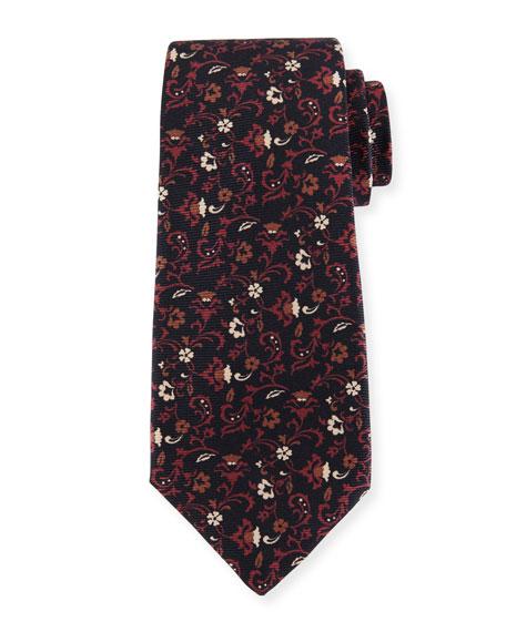 Floral-Print Silk Twill Tie