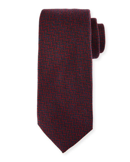 Kiton Chevron Wool-Silk Tie, Red