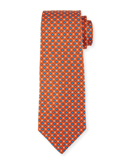 Kiton Micro-Box Silk Tie, Rust Brown