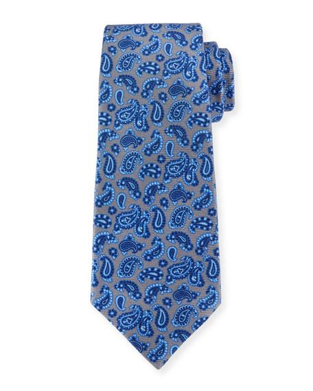 Kiton Paisley Pines Silk Tie, Gray