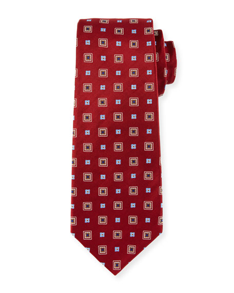Kiton Woven Square Silk Tie, Red