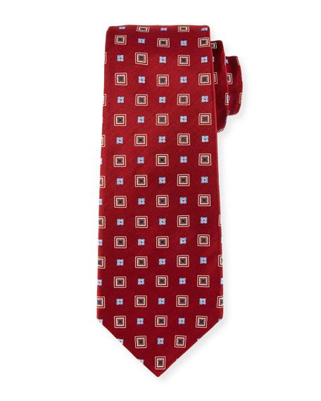 Woven Square Silk Tie, Red