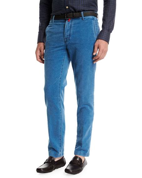 Light Wash Velvet Straight-Leg Pants