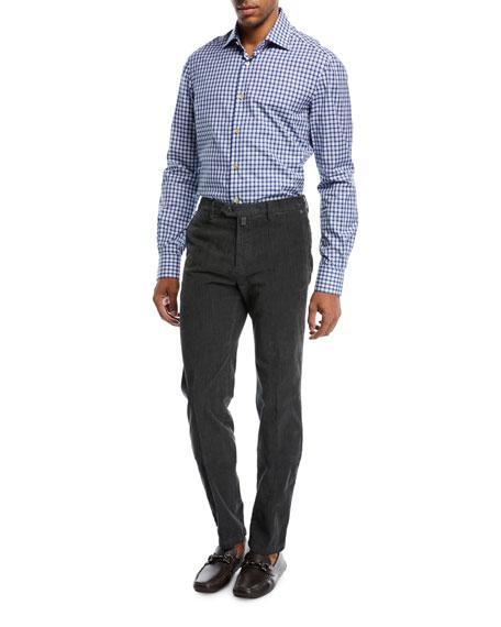 Corduroy Straight-Leg Pants, Gray