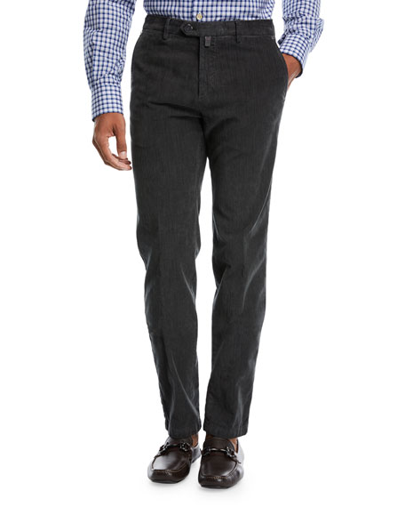 Kiton Corduroy Straight-Leg Pants, Gray