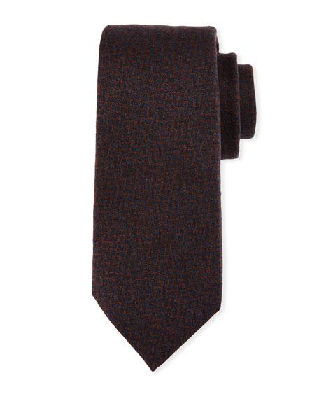 Kiton Chevron Wool-Silk Tie, Brown