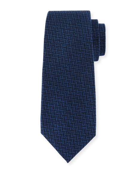 Chevron Wool-Silk Tie, Blue