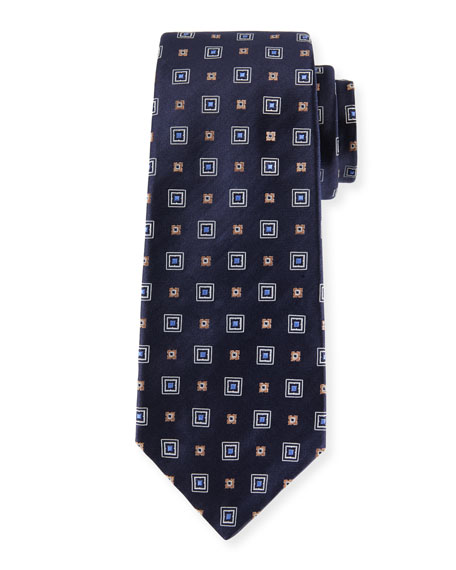 Kiton Woven Square Silk Tie, Navy Blue