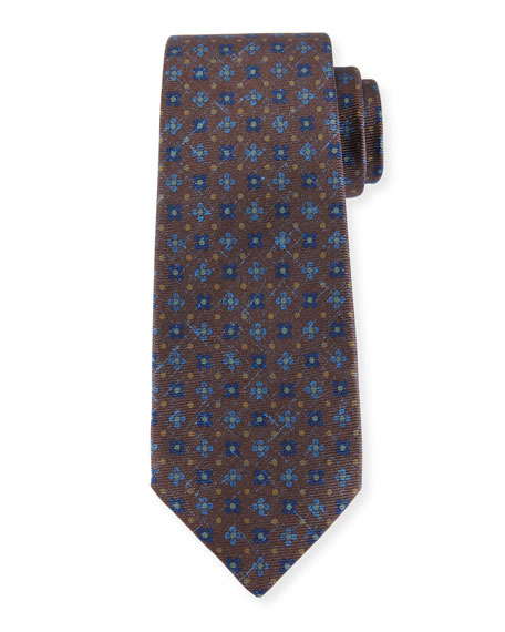 Kiton Four-Petal Floral-Print Silk Tie, Brown