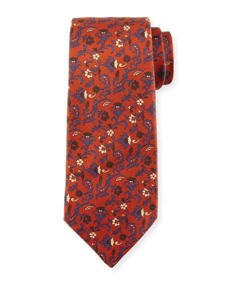 Kiton Antique Floral-Print Silk Tie, Rust Brown