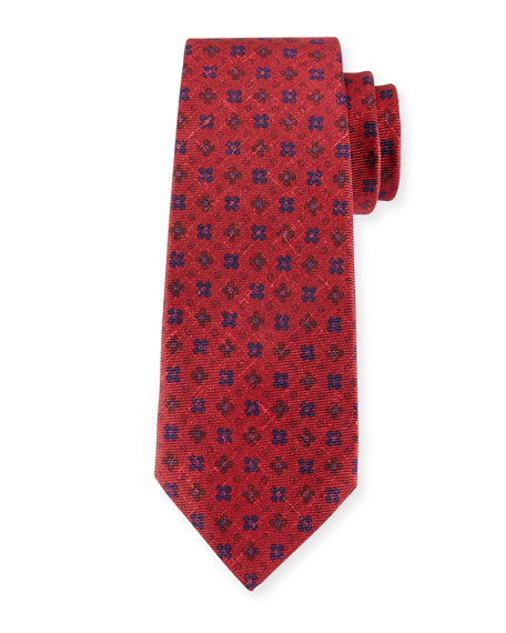 Four-Petal Floral-Print Silk Tie, Red