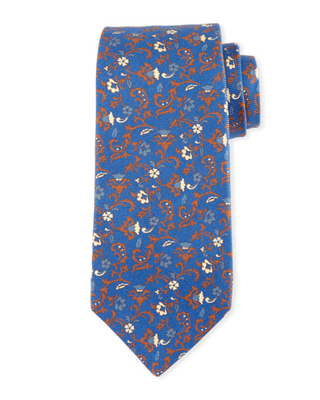 Kiton Antique Floral-Print Silk Tie, Blue