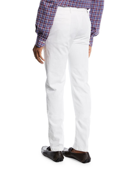 Corduroy Straight-Leg Pants, White