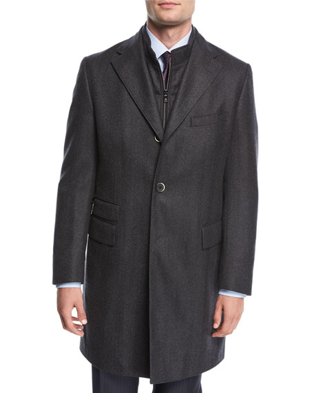 Single-Breasted Herringbone Wool Top Coat