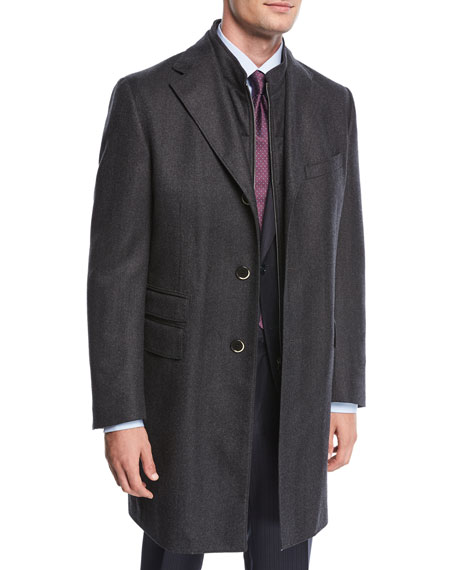 Corneliani Single-Breasted Herringbone Wool Top Coat