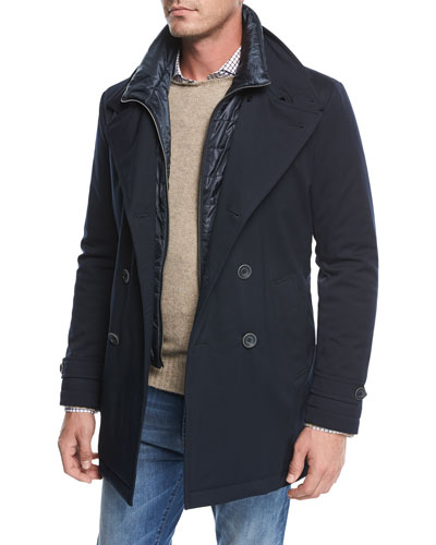Storm System Double-Breasted Peacoat