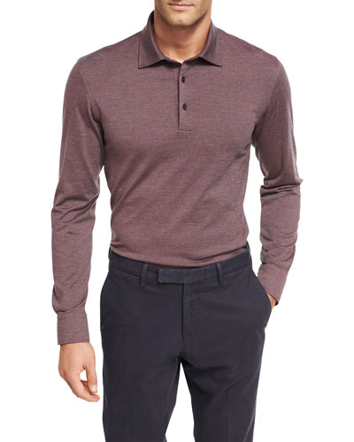 Fine-Stripe Wool-Cotton Long-Sleeve Polo Shirt