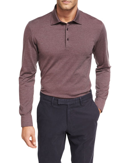 Ermenegildo Zegna Fine-Stripe Wool-Cotton Long-Sleeve Polo Shirt
