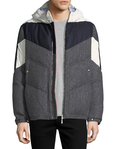 Tweed-Panel Padded Jacket w/ Hood