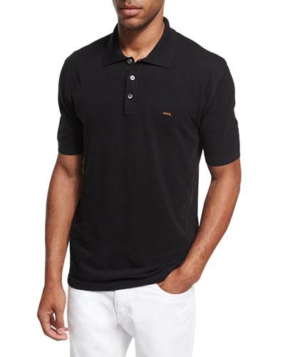 Cotton Pique Polo Shirt, Black