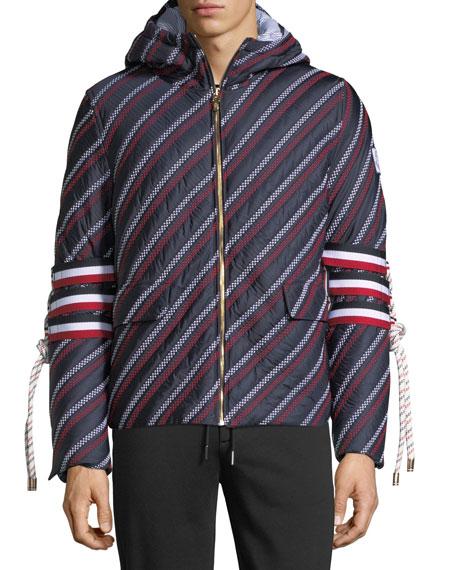 Embellished-Sleeve Striped Jacket