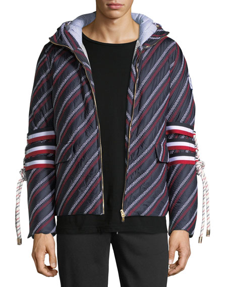 Moncler Gamme Bleu Embellished-Sleeve Striped Jacket