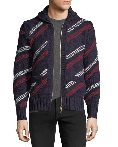 Moncler Gamme Bleu Wool Zip-Front Striped Cardigan