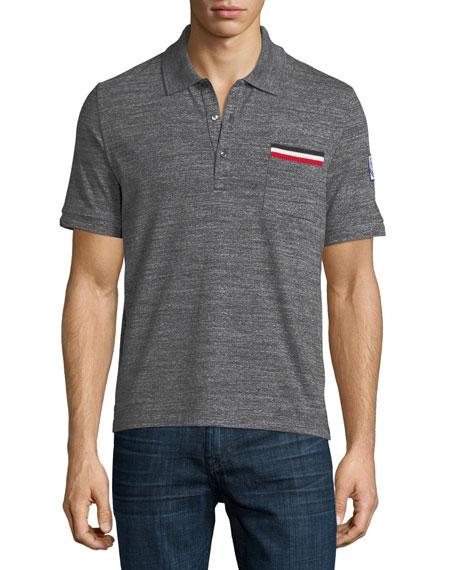 Moncler Gamme Bleu Heathered-Knit Polo Shirt