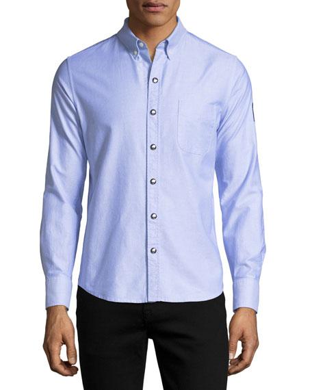 Moncler Gamme Bleu Snap-Front Oxford Shirt