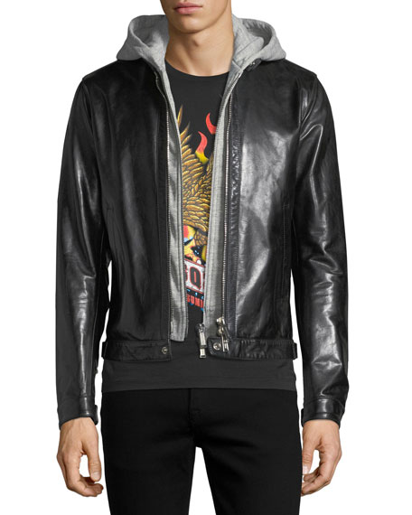 Leather Racer Jacket with Detachable Hoodie