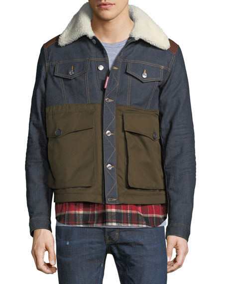 Flannel-Trim Denim Jacket