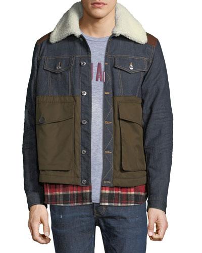Flannel-Trim Denim Jacket
