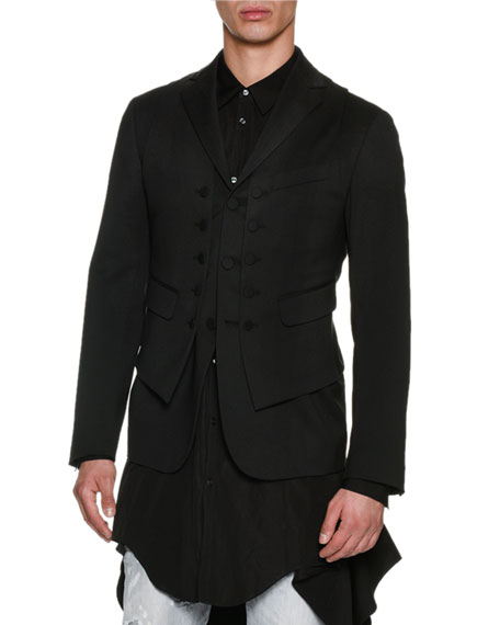 2-in-1 Virgin Wool Formal Vest-Blazer