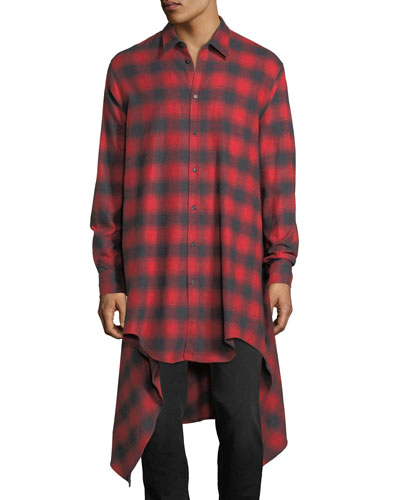 Shadow Plaid Long Flannel Shirt