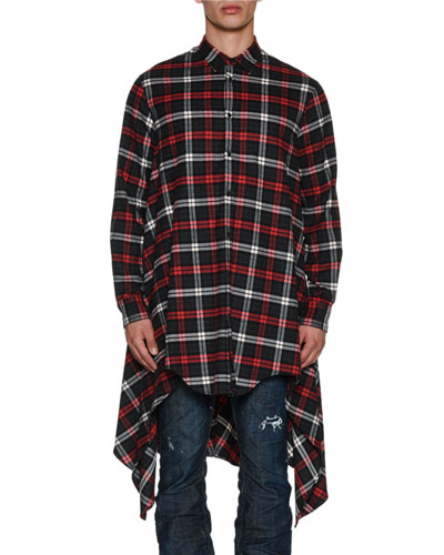 Oversized Long-Sleeve Check Flannel Shirt