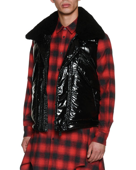 Shiny Puffer Vest with Shearling Collar