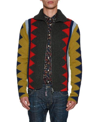 Geometric Intarsia Zip-Front Cardigan