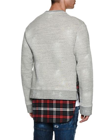 Crest Sweatshirt with Flannel Hem