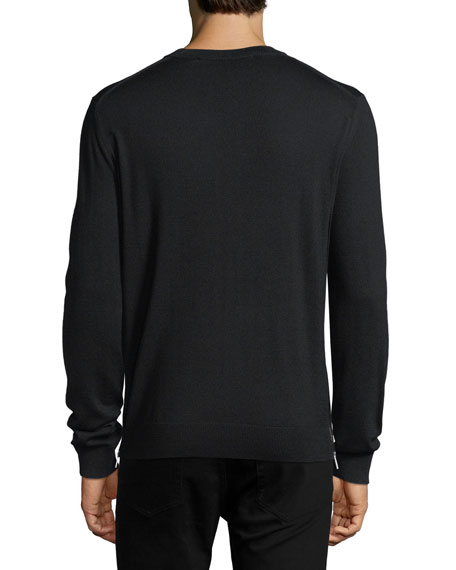 Wool Crewneck Side-Zip Sweater