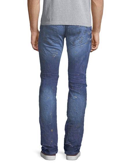 Marbled Zipper Moto Skinny Jeans