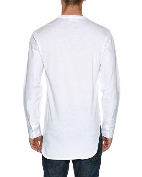 Jersey Poplin-Sleeve Shirttail T-Shirt
