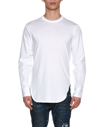 Jersey Poplin-Sleeve Shirttail T-Shirt