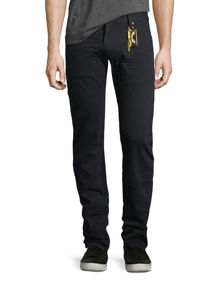 Slim-Straight Studded Flap-Pocket Jeans