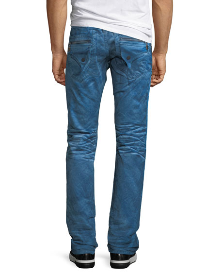 Distressed Denim Slim-Straight Jeans