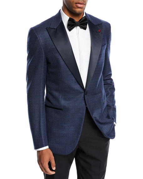 Isaia Textured Satin-Lapel Dinner Jacket