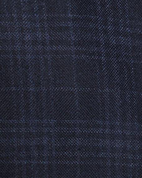 Tonal Plaid Two-Button Sport Coat, Navy