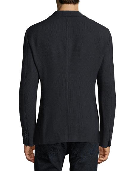 Waffle-Knit Patch-Pocket Blazer