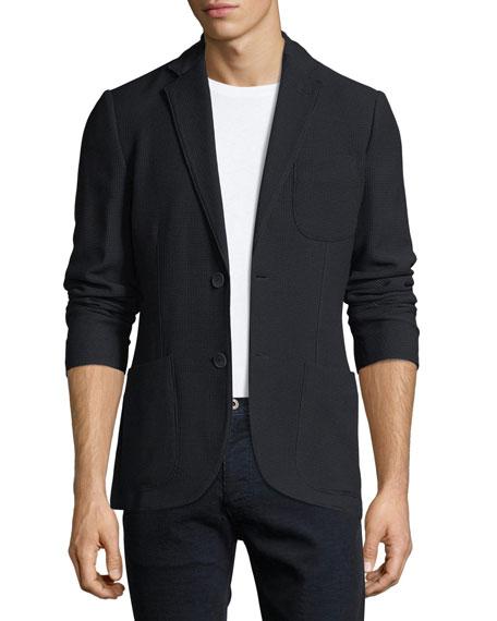 Giorgio Armani Waffle-Knit Patch-Pocket Blazer
