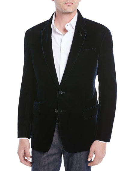 Velvet Notched-Collar Jacket